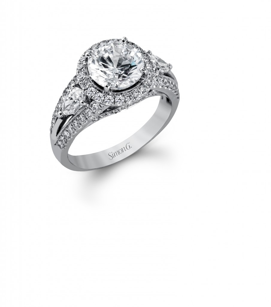 Halo Ring With Pear Side Stones