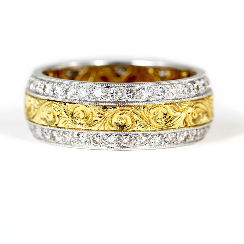Engraved Band with Diamonds