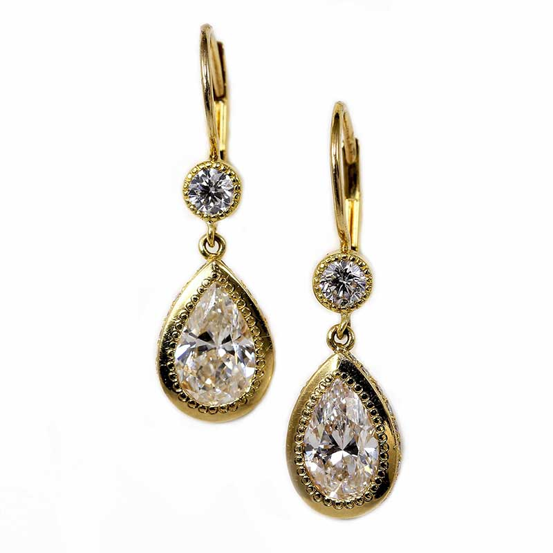 Pear Shaped Diamond Earrings