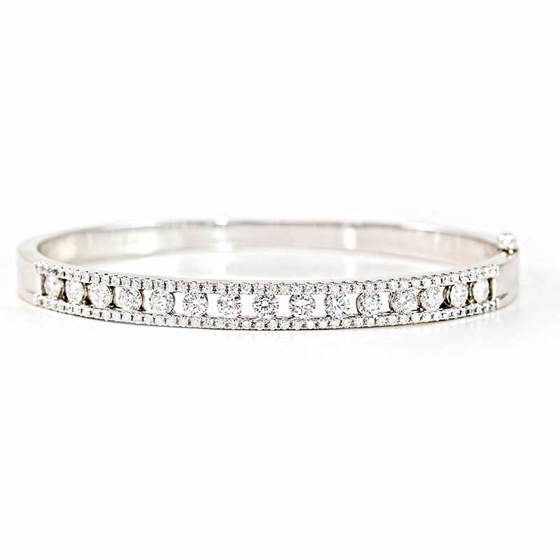 Diamond Bangle with Round Stones