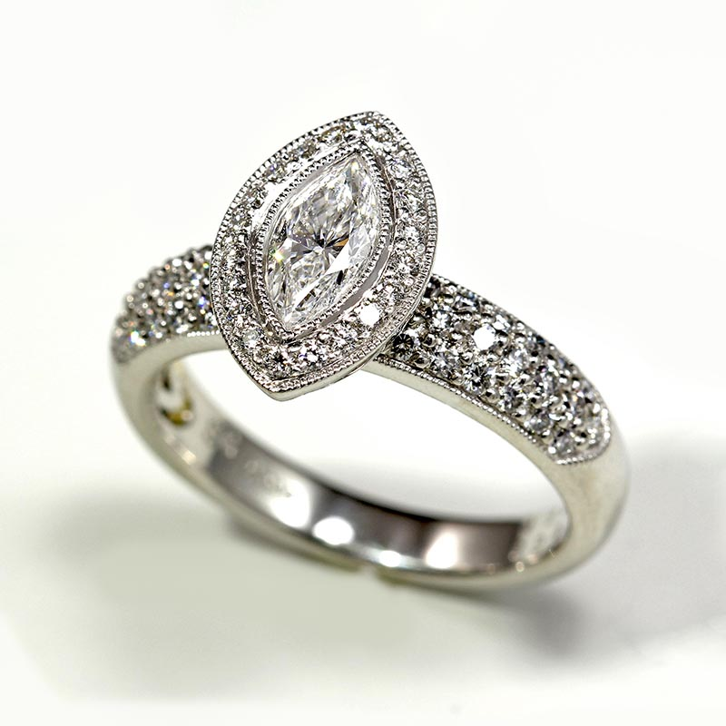 Pave Ring with Marquise Diamond
