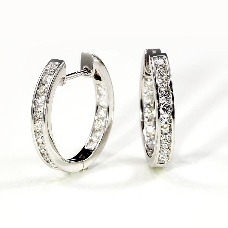 Channel Set Diamond Hoops