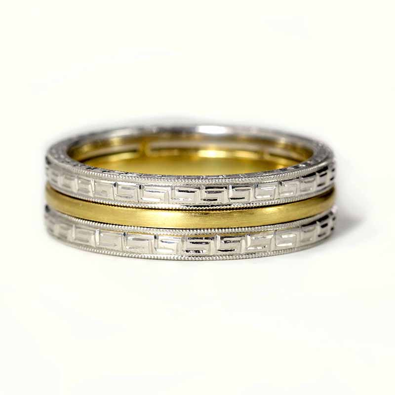 Two-Tone Gold Engraved Band