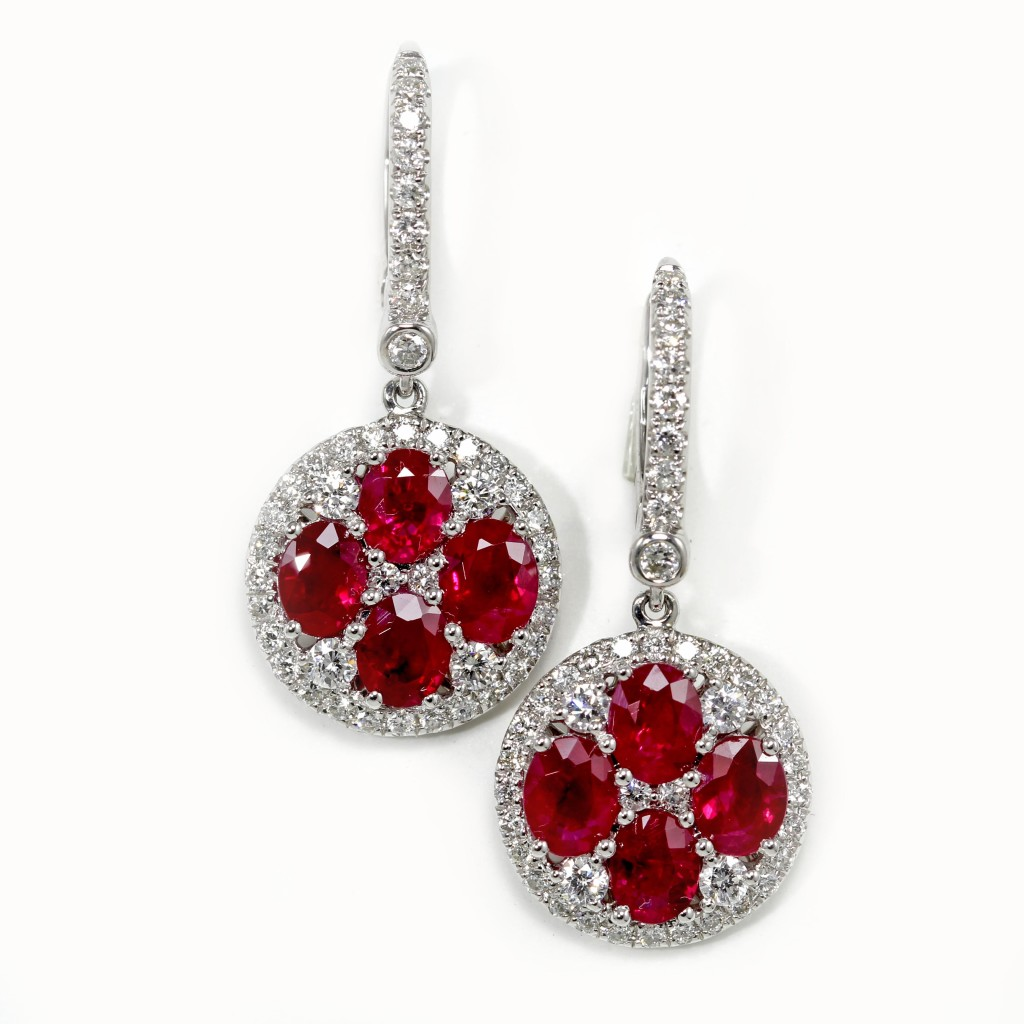 Four Oval Ruby Earrings