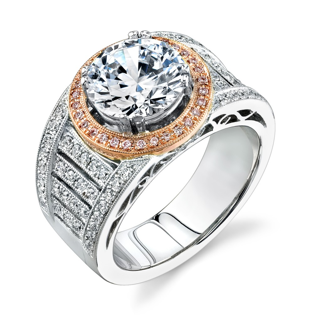 Two Tone Halo Ring