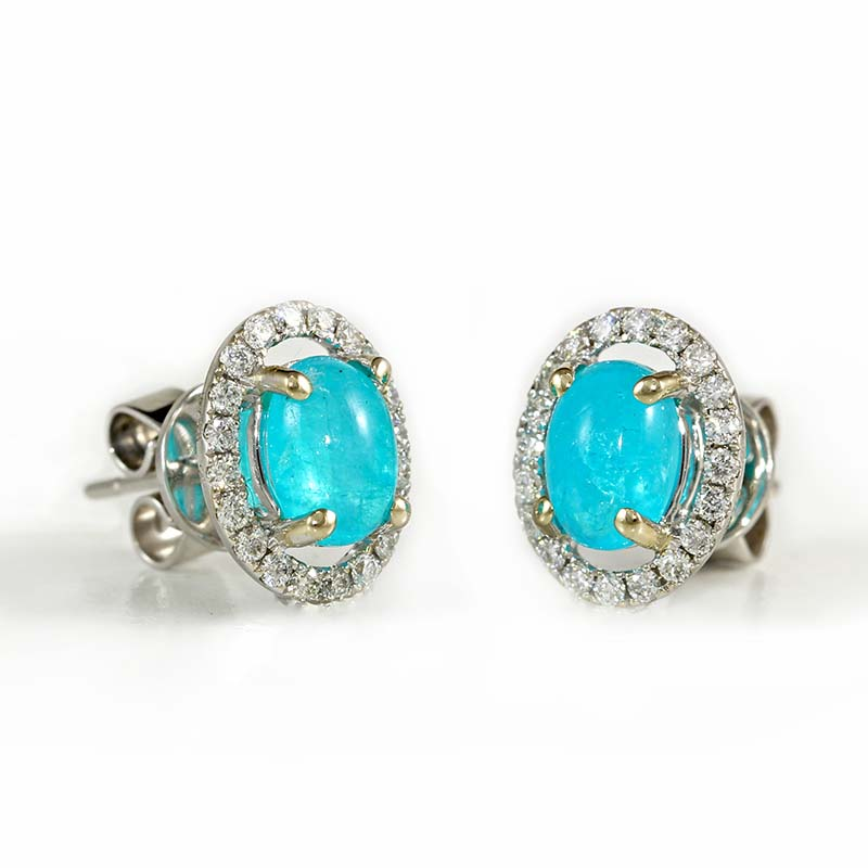 Paraiba Halo Earrings