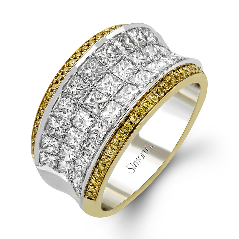 Yellow and White Diamond Anniversary Band