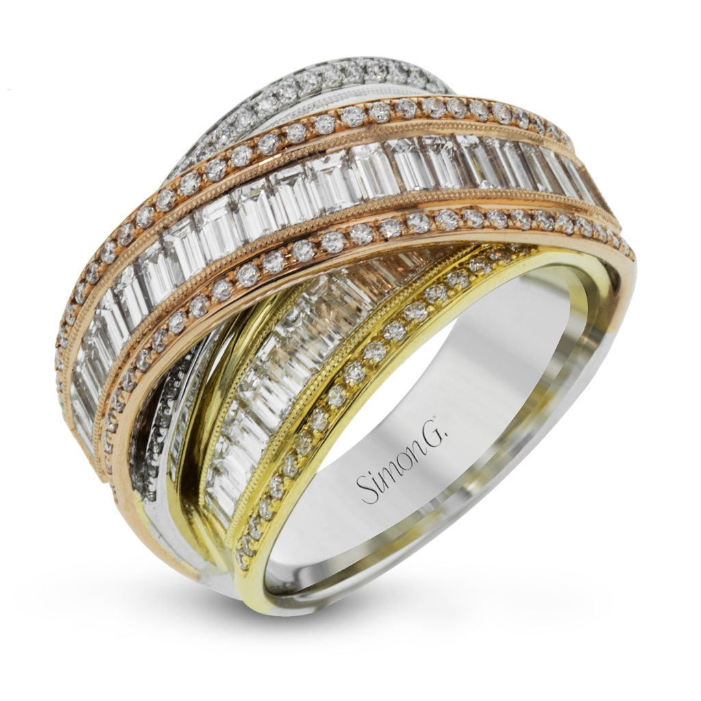 Three Tone Diamond Crossover Ring
