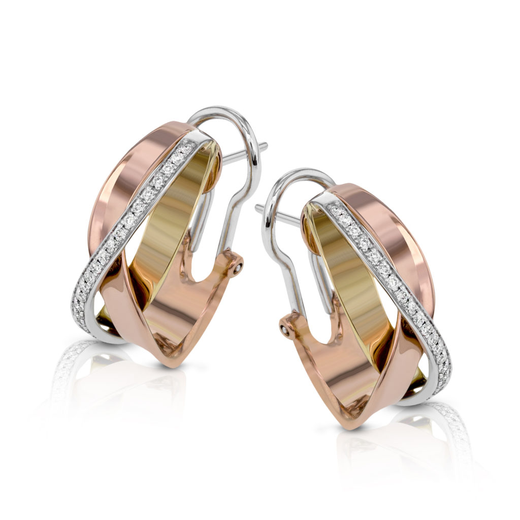 Three Tone Diamond Crossover Earrings