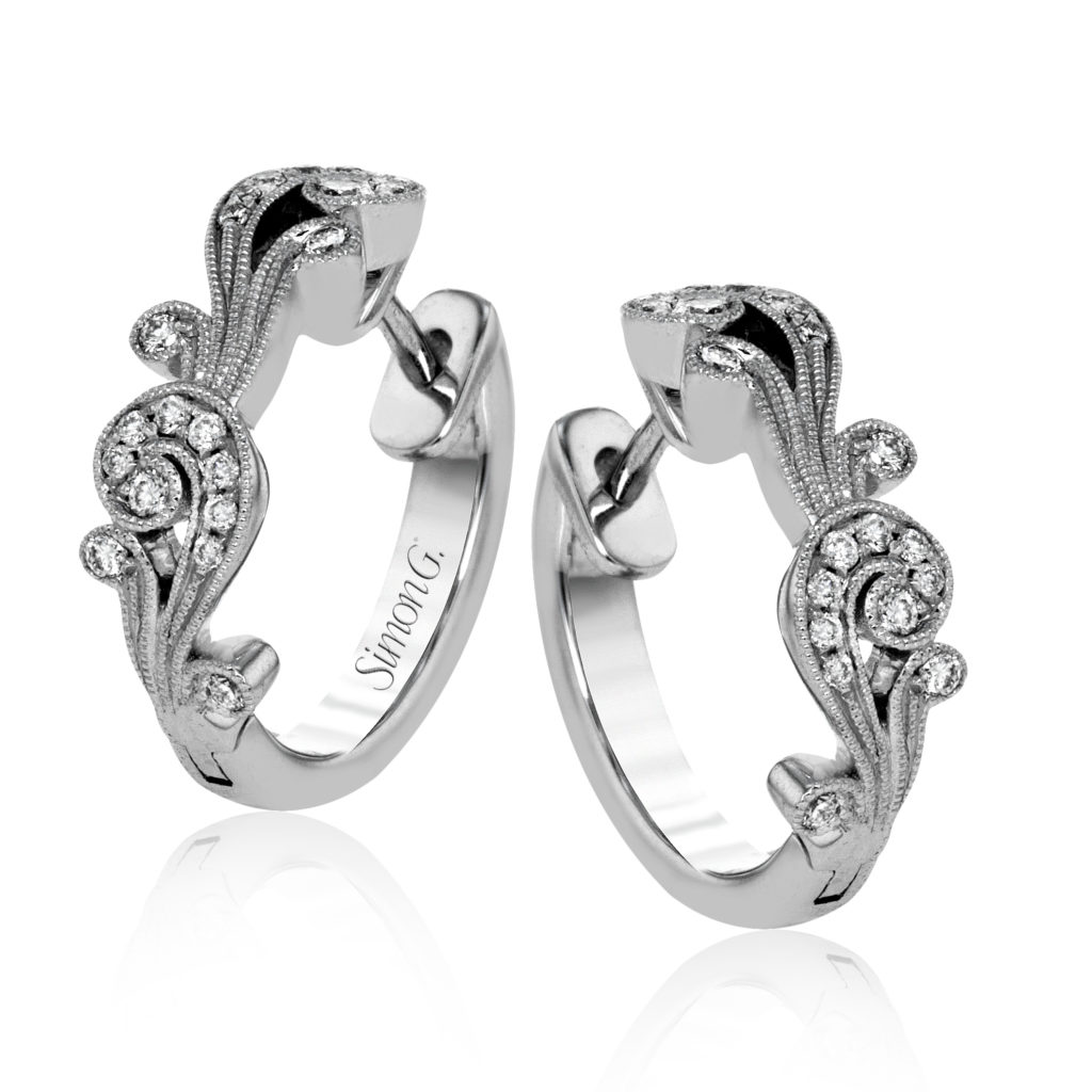 Swirl Diamond Hoops