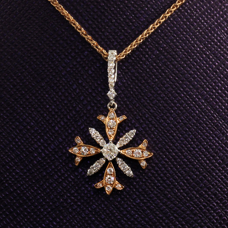Diamond Snowflake Shaped Pendant