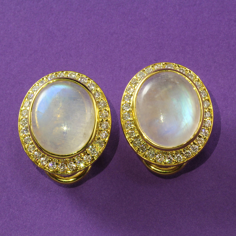 Moonstone Cabochon and Diamond Earrings