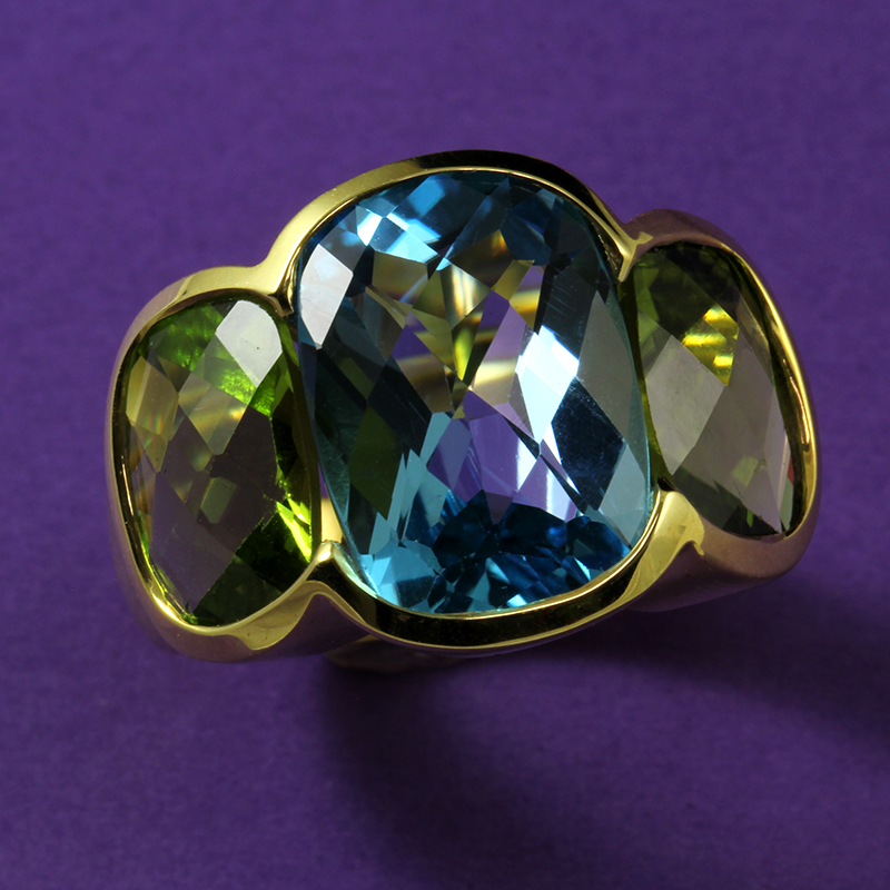 Topaz and Peridot ring