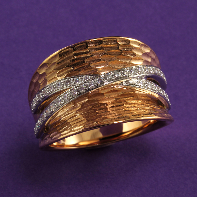 Simon G. Two Tone Hammered Rose and White Gold Ring