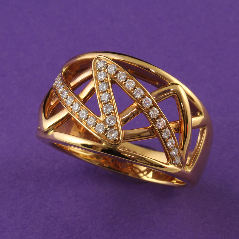 Modern Zig Zag Rose Gold Diamond Ring