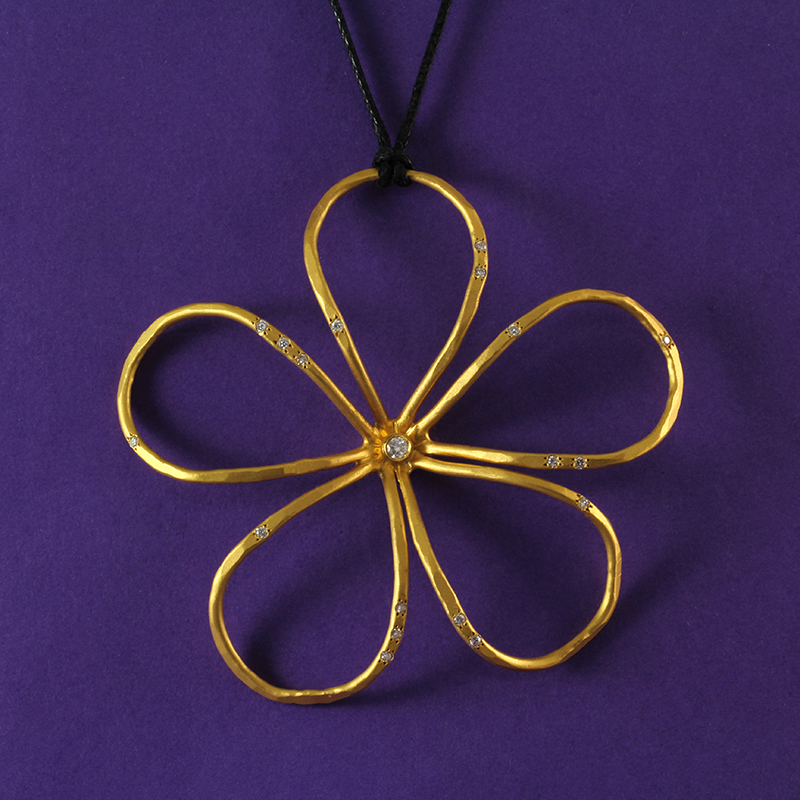 Large Hammered Gold and Diamond Flower