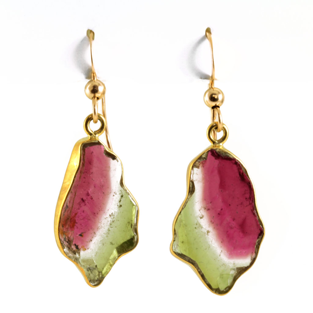 Watermelon Tourmaline Slab Earrings